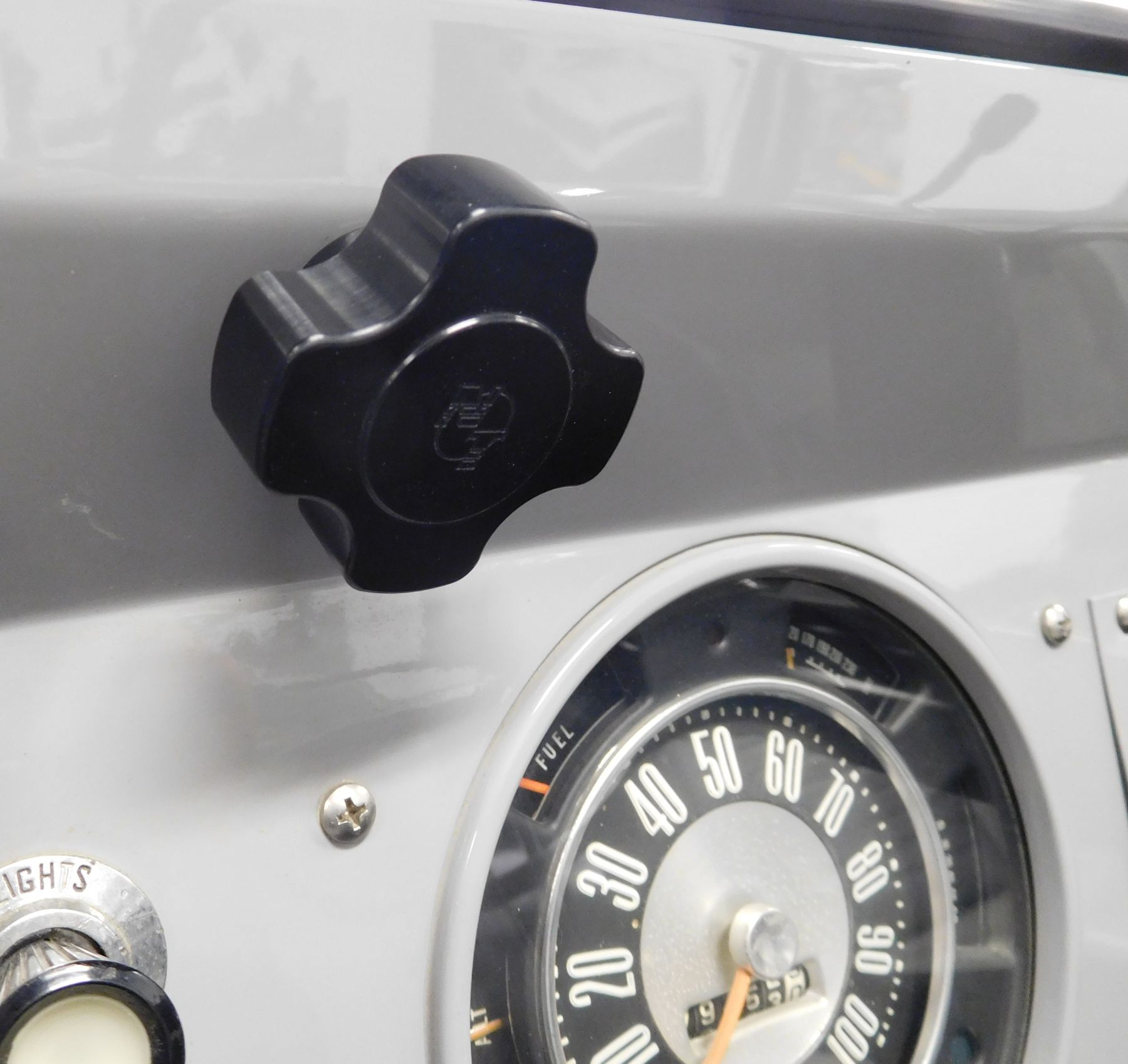 66 To 77 Bronco Billet Black Windshield Knobs Pair Broncograveyardcom 1980 Ford Gauges Images 17103b 17103b2