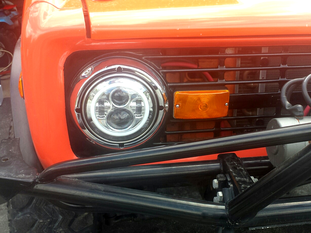 1966-1978 Ford Bronco and F Series Truck Chrome LED Headlights w/Halo