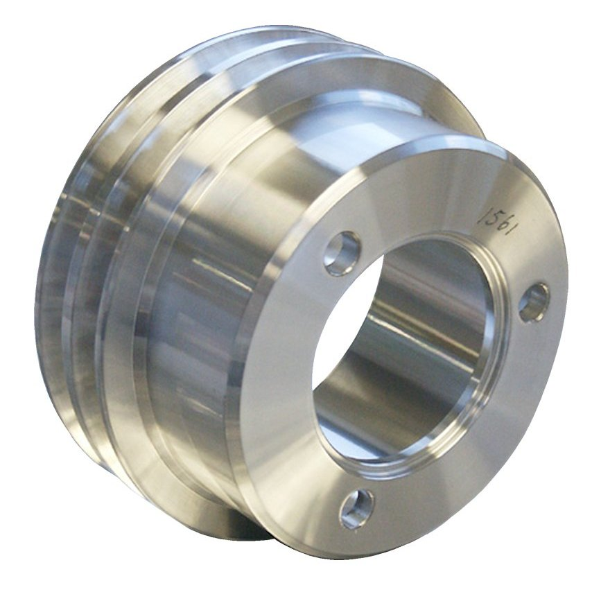 Polished Aluminum Crankshaft Pulley-Broncograveyard.com