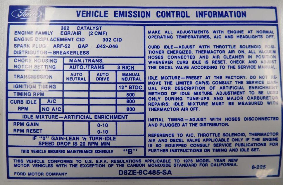 1976 77 302 At Valve Cover Emission Decal Broncograveyard Com