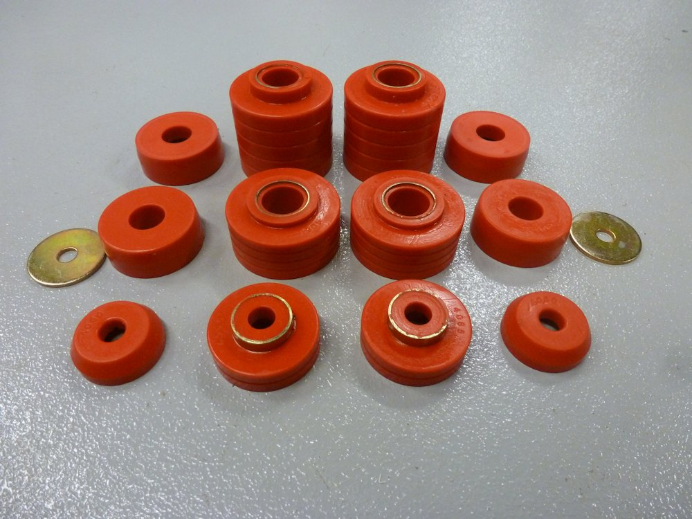 1980-1997 Ford F-Series Truck Body Mount Bushings, Red