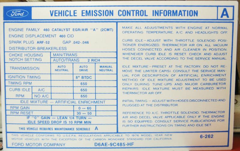 1976 460 At Valve Cover Emission Decal Broncograveyard Com