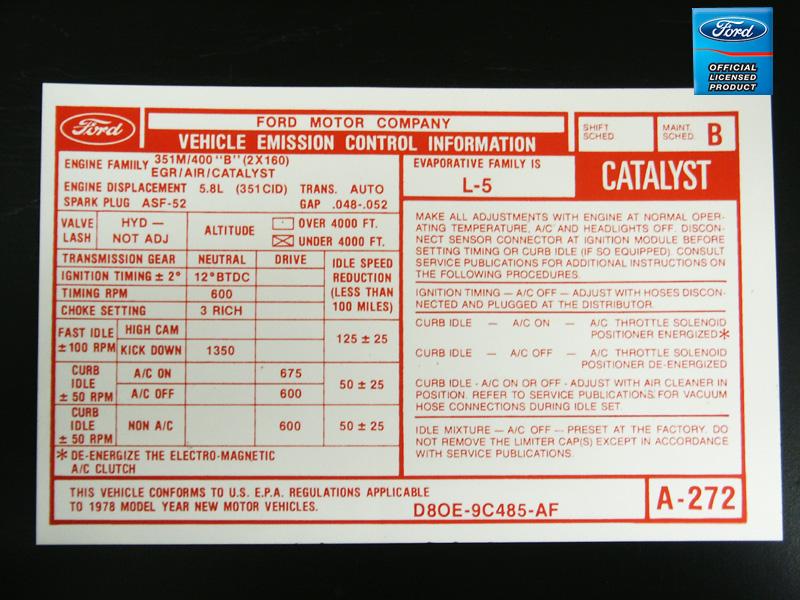 1978 400 At Valve Cover Emission Decal Broncograveyard Com