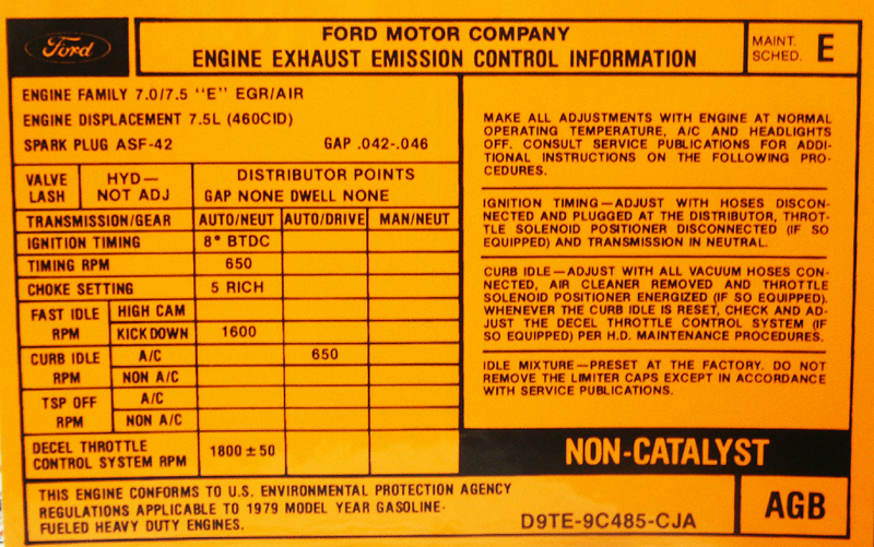 Ford F150 Transmission >> 1979 460 AT Valve Cover Emission Decal-Broncograveyard.com