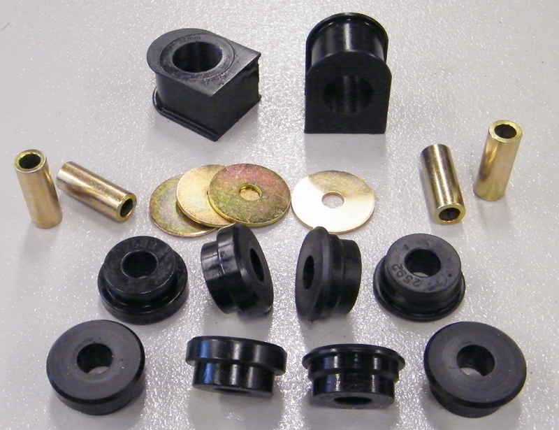 99 04 F250 F350 Front Sway Bar Bushing Set Black